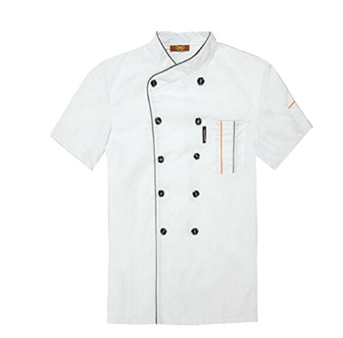 TopTie Short Sleeve Chef Jacket Kitchen Cook Coat Stripe Uniforms White-XS