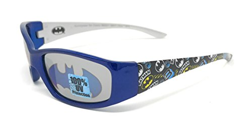 DC Comics Batman Kid's Sunglasses in Blue and Silver with Bat Signal - Batman Sunglasses Kids