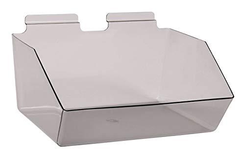 "Buy All Store 6 Slatwall Bins Dump Acrylic Clear Gray 12"" x 9 ½"" x 5 ½"" Wire Grid Slat Wall -  buyallstore"
