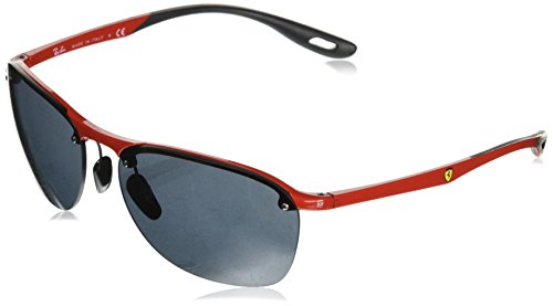 Ray-Ban Men's RB4302M Scuderia Ferrari Collection Square Sunglasses, Red/Grey, 62 ()