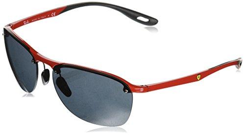 Ray-Ban Men's RB4302M Scuderia Ferrari Collection Square Sunglasses, Red/Grey, 62 mm (Sunglasses Collection)
