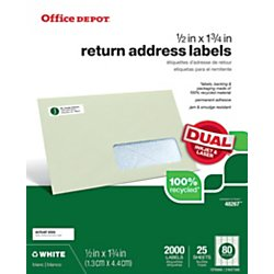 Office Depot(R) Brand 100% Recycled Mailing Labels, OD99313, 1/2in. x 1 3/8in., White, Pack Of 2,000