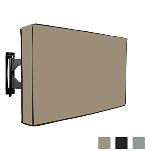 COVERS & ALL Outdoor TV Cover Weatherproof For LED LCD PLASMA TV. Built-In Bottom Protection Flap, Remote Controller Storage Pocket, Fits Wall & Standard Mounts, 1000 D PVC Fabric (50'' - 52'', Beige) by COVERS & ALL