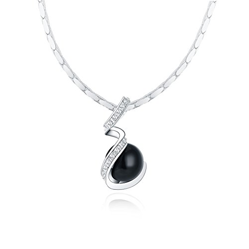 "KEDRIAN Simulated Black Pearl Spiral Necklace, Silver Tone Black Pearl Necklace, Black Pearl Necklace For Women 17"" Chain (Silver Tone) (Long Tone Necklace Pearl)"