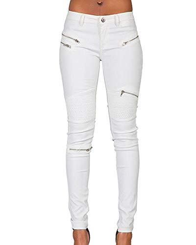 Skinny Matita Pieghe Jeans Qitunc Elasticità Pu Cerniera Pantaloni Bianco Ecopelle Leggings Donna twZqzwH
