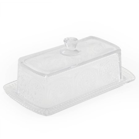 Pioneer Woman Adeline Clear Butter Dish Embossed Pressed Glass