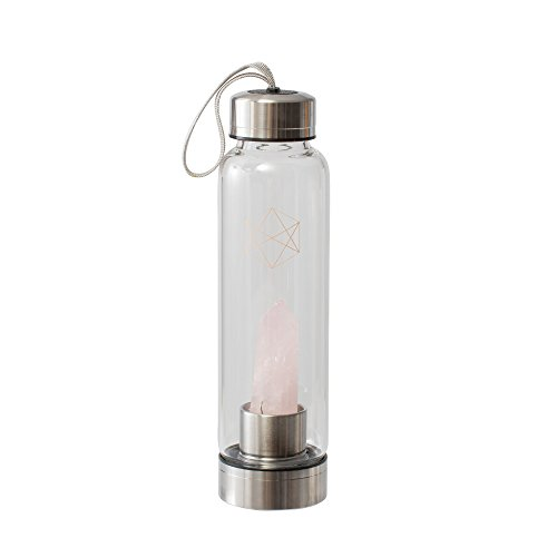 Lifestyle Products Glass Water Bottle, Natural Rose Quartz, Love and Compassion, Includes Protective Neoprene Sleeve