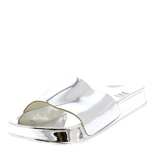 Fashion Mirror Flat Slip On Summer Sliders Shoes - Silver PN0143 10US/41 (Silver Slides)
