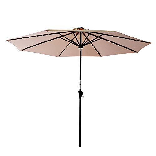 C-Hopetree 10ft Solar Lighted LED Outdoor Patio Umbrella Market Style with Aluminum Pole for Garden Table Backyard Terrace, Beige (Covers Patio Solar)