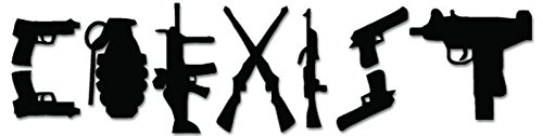 Coexist Gun Rifle Weapon Vinyl Decal Sticker for Vehicle Car Truck Window Bumper Wall Decor - [6 inch/15 cm Wide] - Matte White Color