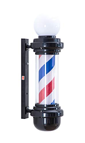 BarberPub Barber Pole Rotating LED Strips Light Metal Hair Salon Sign L018 (Black&White)