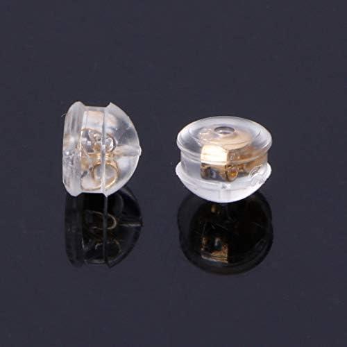 Haute Qualité 10PCS Silicone ruban or boucle d/'oreille Dos Rembourré champignon