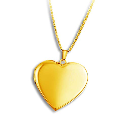 PHOCKSIN Polished Love Heart Locket Necklace That Holds Pictures Gold Plated Gifts for Women Girl