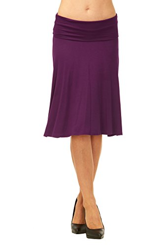Red Hanger Womens Basic Solid Stretch Fold-Over Flare Midi Skirt (Eggplant-S)