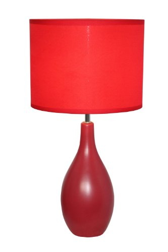 Red Base Lamp (Simple Designs LT2002-RED Oval Bowling Pin Base Ceramic Table Lamp, Red)