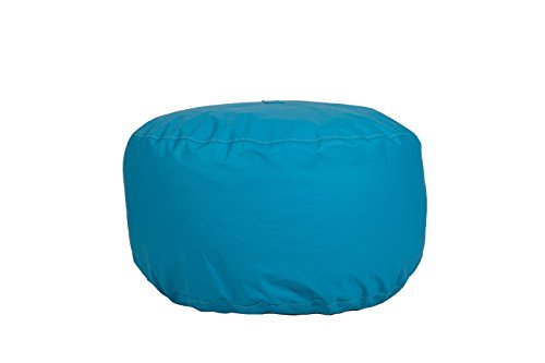 (Hip Chik Chairs VCL03399-3146 Oversized Tech-Leather Round Ottoman, Adult Size, Sky Blue)