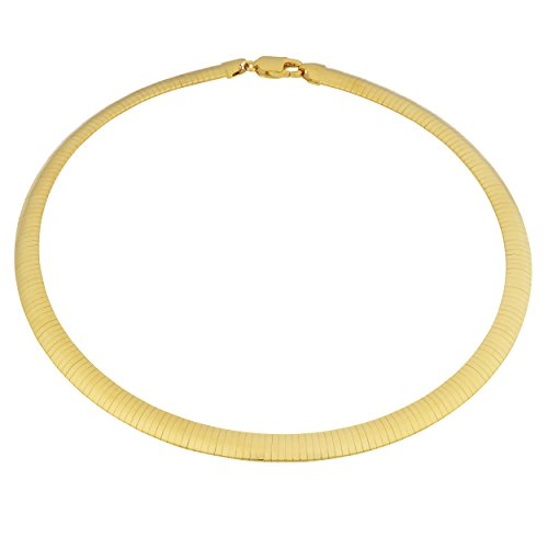 Yellow Gold Plated Sterling Silver 8mm Omega Chain (17 inch) ()
