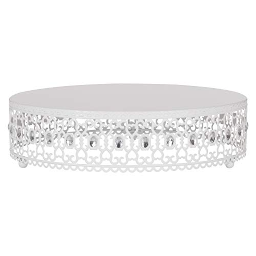 Amalfi Decor 16 Inch Cake Stand Plateau Riser, Large Dessert Cupcake Pastry Candy Display Plate for Wedding Event Birthday Party, Round Metal Pedestal Holder with Crystal Gems, White ()