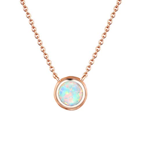 Cherisherre 14K Rose Gold Plated Fire Opal Pendant Necklace for Women Girls