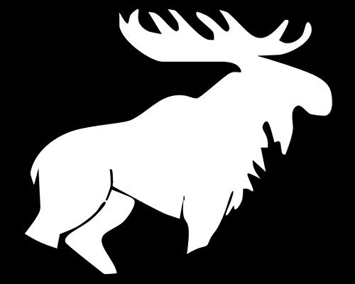 Makarios LLC Moose Hunting Silhouette Cars Trucks Vans Walls Laptop MKR| White |5.5 x 4.75|MKR487