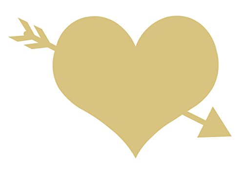 Heart with Arrow Unfinished MDF Wood Cutout Variety of Sizes USA Made Valentines Day Decor Love Theme - Cut Out Arrow
