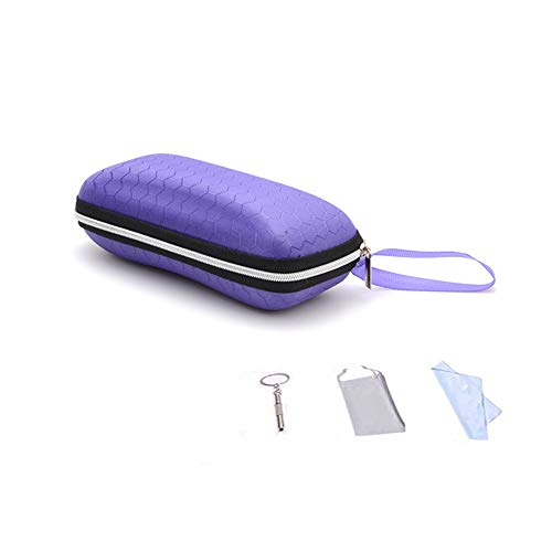 Zipper Eyeglasses Case, Honeycomb Glasses Sunglasses Case Box Protector for Men & Women or Children(Purple)