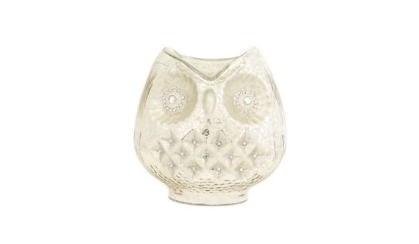 4.5 Diameter x 6H. Metal Owl Hurricane Candle Holder