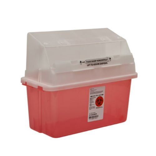 Covidien 31353603 Sharps-A-Gator Safety In Room Sharps Container with Counterbalance Lid, 5 quart Capacity, Transparent Red (Pack of 14)