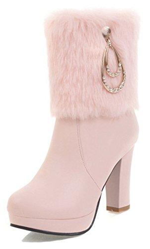 Women's Round Toe Platform High Heels Fashion Ankle Boots Pink - 3