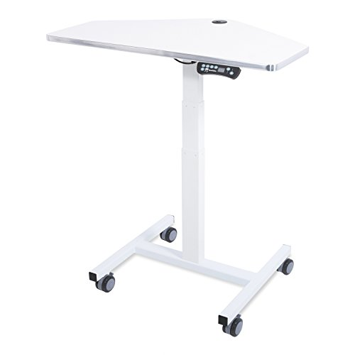 Versa Tables Sit-to-Stand Mini Desk Laptop Computer Cart, Ergonomic Electric Height Adjustable Mobile Workstation (White) -