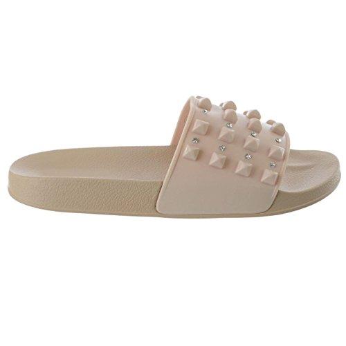 FERETI Femmes Plat Sandales Mules Beige Cloutées Claquettes Chaussons Pantoufles Pointure chic