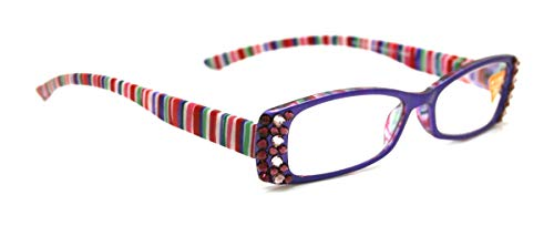 Aurora, Rectangular Bling Women Reading Glasses, Adorned with Swarovski Crystals +1.25 +1.50 +1.75 +2.00 +2.25 +2.50 +2.75 +3.00 Purple, L.purple, Red or Brown. NY Fifth Avenue. (Fifth Avenue Crystal Aurora)