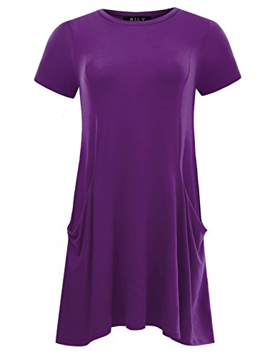 Short Sleeve Front Pocket (B.I.L.Y BILY Women's Short Sleeve Front Pockets Round Neck Casual Flowy Tunic Purple X-Large)