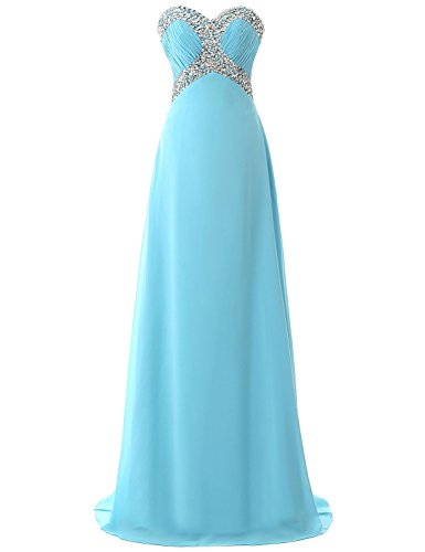 Belle House Chiffon Long Bridesmaid Party Dress Sky BLue Prom Gown