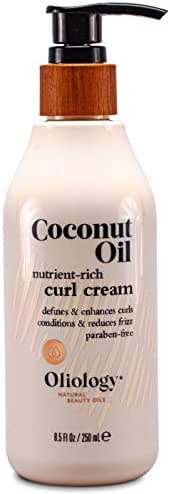Oliology Coconut Oil Curl Cream - Defines and Enhances Curls | Conditions and Reduces Frizz | Paraben Free (7.8 Oz)