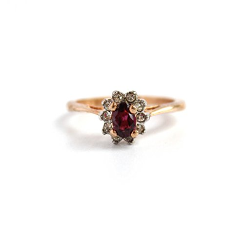 Providence Vintage Jewelry 1980's Garnet Austrian and Clear Swarovski Crystals 18k Gold Electroplated 18k Gold Electroplated