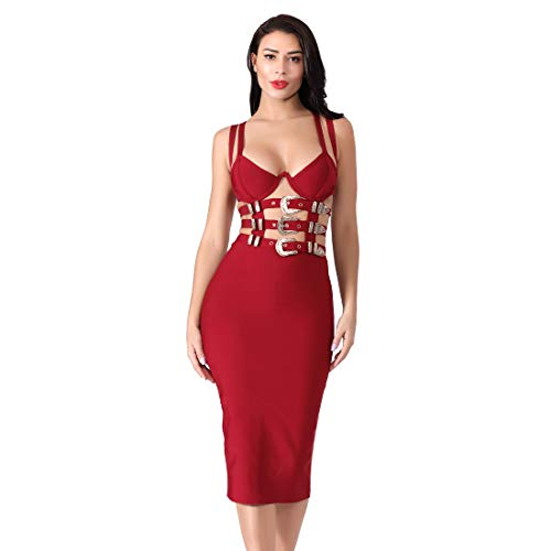 Women Sexy Bodycon Bandage Spaghetti Strap Cutout Night Out Dress Evening Party (Small, Wine red) ()