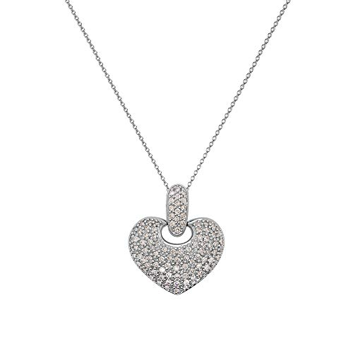 - TriJewels AGS Certified Round Diamond 1.00 ctw Womens Cluster Heart Pendant Necklace (I1-I2, G-H) 14K White Gold with 18 inches 14K Gold Chain