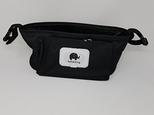 - Baby Stroller Organizer - Perfect Storage Bag for Diapers, Bottles, Phone, Snacks, Bottled Water and More! - 2 Bottle/Drinks Holders, 1 Zippered Mesh Pocket, 1 Wipes Dispenser - Universal (Black)