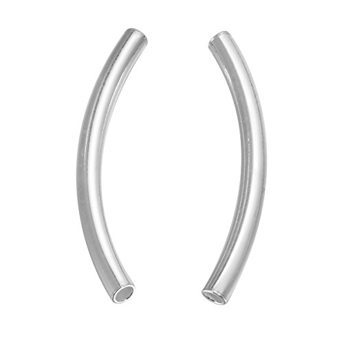 HooAMI 925 Sterling Silver Curved Noodle Tube Beads 4pcs,35mm(1 - Silver Tube Sterling Curved