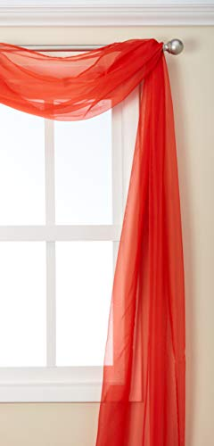 3 Piece Red Sheer Voile Curtain Panel Set: 2 Red Panels and 1 Scarf (Panels Voile Red)