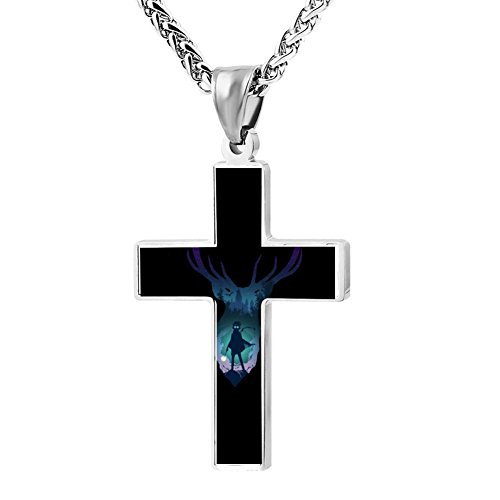 Elelab Fashion Deer Guardian Angel Cross Necklace Zinc alloy Pendant Creative Personalized Accessories Prayer Christian 24 Inch