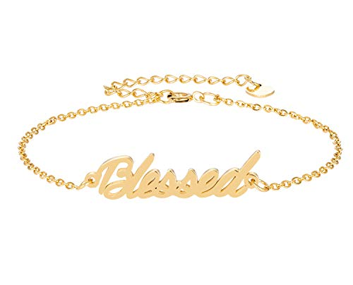 (HUAN XUN Blessed Name Bracelet for Womens Girls Jewelry Gifts Stainless Steel)