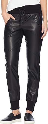 Blanc Noir Women's Faux Leather Front Jogger Black Medium 29 29