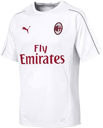 PUMA Men's AC Milan Training Jersey SS with Sponsor Shirt, puma White/Chili Pepper, XL