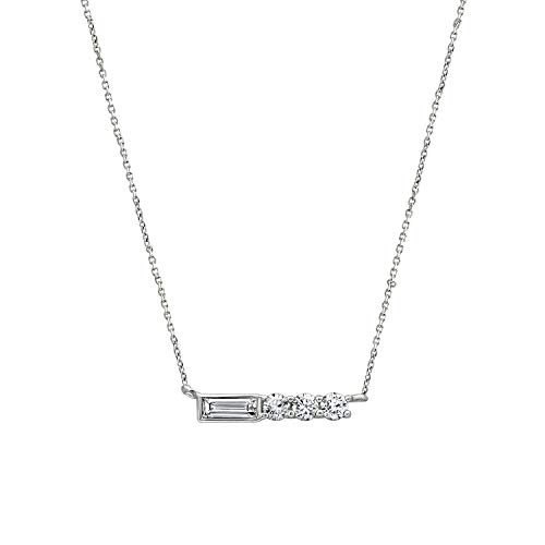 J'ADMIRE Platinum-Plated Sterling Silver Baguette and Round Clear Swarovski Zirconia Bar Pendant Necklace (0.48 cttw), 16