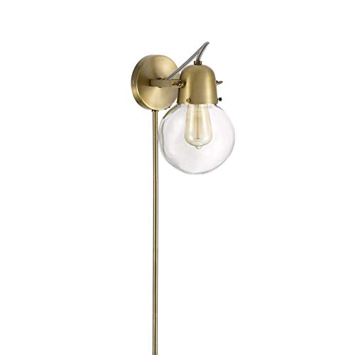"Rivet Mid-Century Modern Gold 1-Light Plug-In Wall Sconce, 9.75"" H, With  Bulb, Glass Shade"