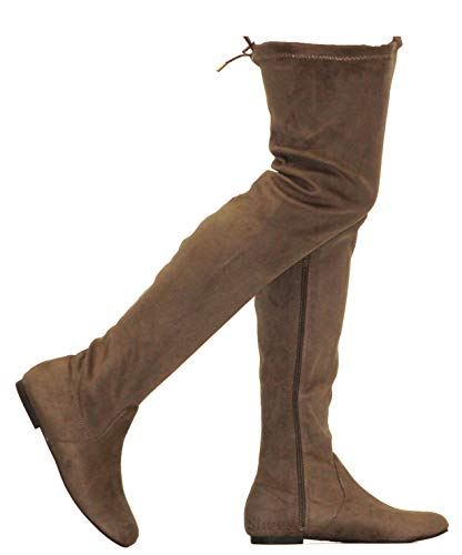 MVE Shoes Womens Fashionable Flat Over The Knee Boots - Comfortable Suede Adjustable Boots, Taupe Suede 7.5