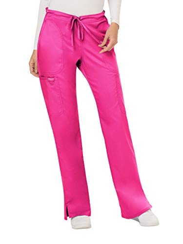 (Cherokee WW Revolution WW120 Mid Rise Drawstring Cargo Pant Electric Pink M)