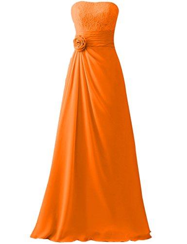 HUINI Cord¨®n Flor Largo Gasa Paseo Vestidos de dama de honor Sin tirantes Boda Fiesta Formal Vestidos Naranja